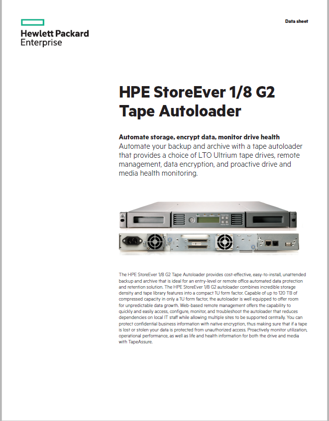 HPE StoreEver 1/8 G2 Tape Autoloader
