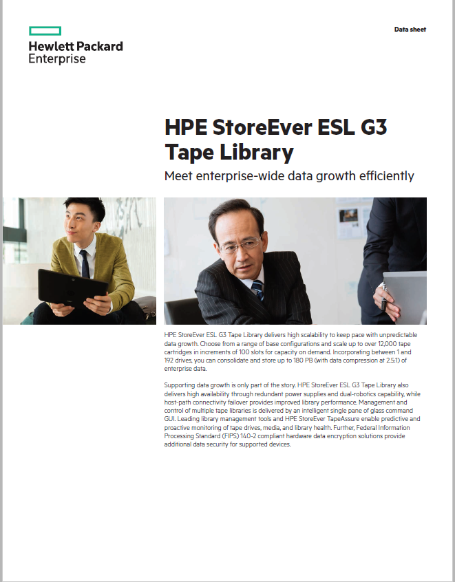 HPE StoreEver ESL G3 Tape Library