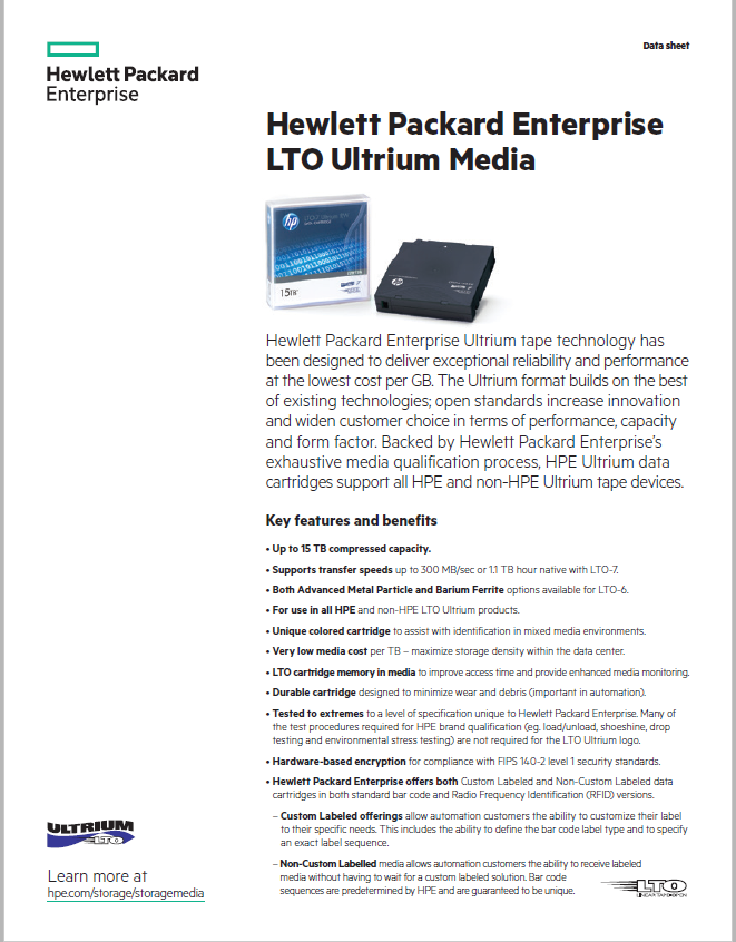 Hewlett Packard Enterprise LTO Ultrium Media