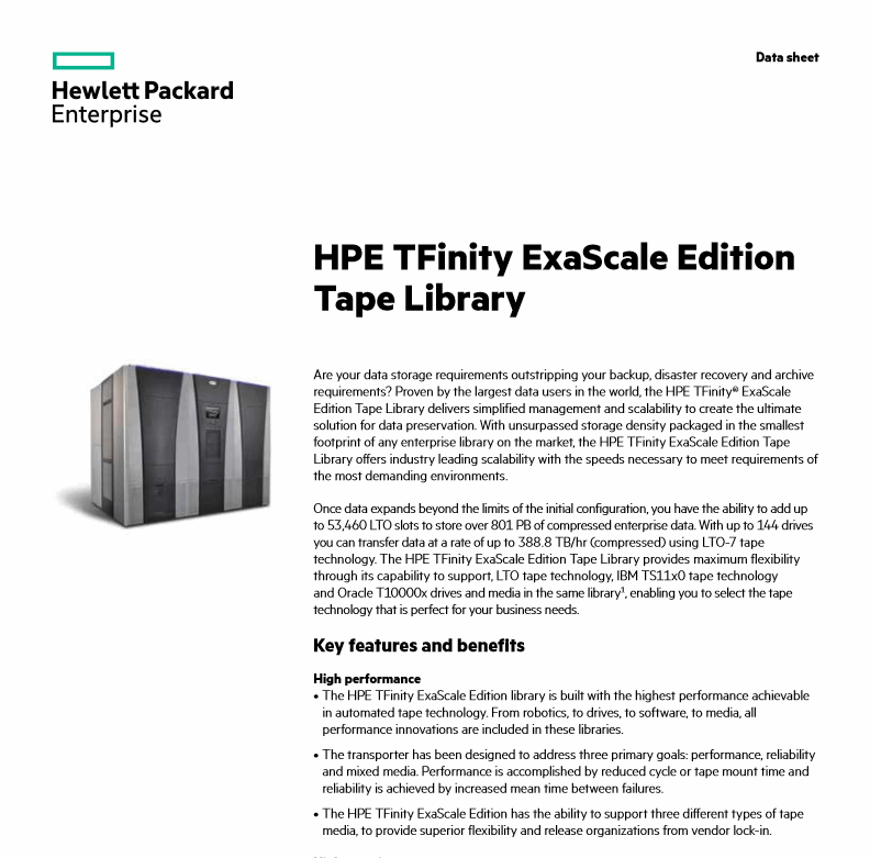 HPE TFinity® ExaScale Edition Data Sheet