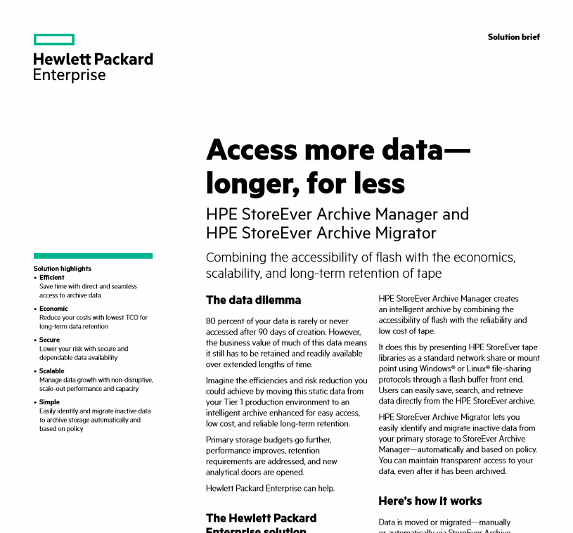 HPE StoreEver Archive Manager Solution Brief