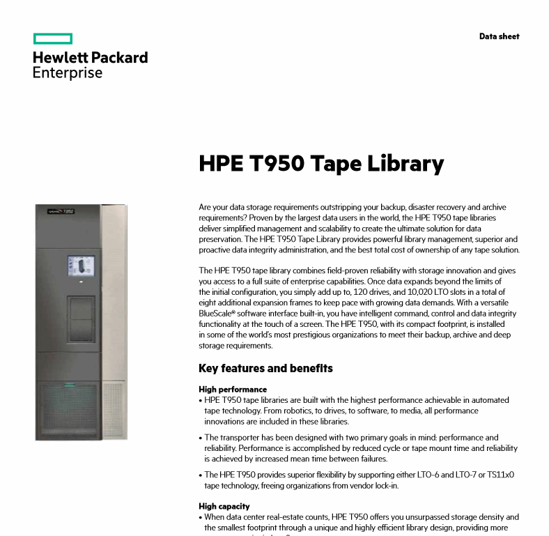 HPE T950 Tape Library